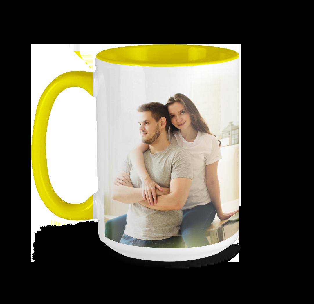 Tasse avec photo de 15 onces - Jaune
