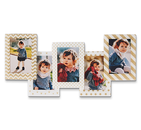 White and Gold Pattern Frames (set of 5)