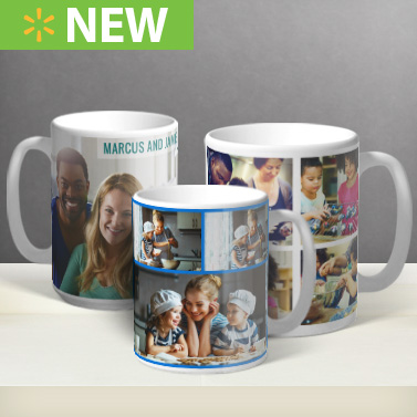 Walmart Photo Centre Photo Mugs. Receive your gifts in time for Holidays! Learn More × Receive your gifts in time for Holidays! We want to make a sure that you receive your personalized gifts in time for holidays. Look for the icons below to see our holiday cut off dates for various products during the holiday season. Ready in Business Days Ready in Business Days Ready Next Day.