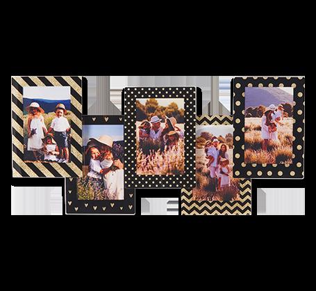 Black and Gold Pattern Frames (set of 5)