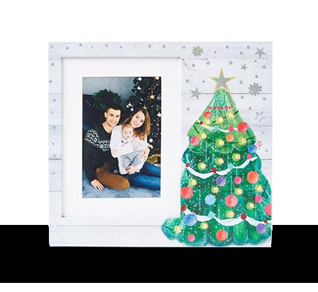 Cadre avec arbre de Noël à DEL de 6 x 8 po