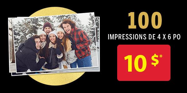 100 impressions de 4x6pouces pour 10 $*