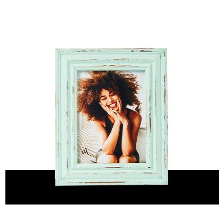 6x8 Aqua Distressed Frame